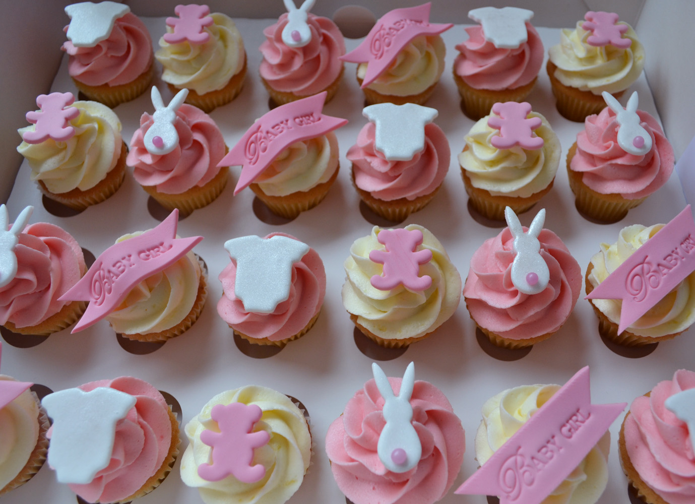 Pink Baby Shower Cupcakes : Little Paper Cakes: 24xmini pink and cream Baby Shower ...