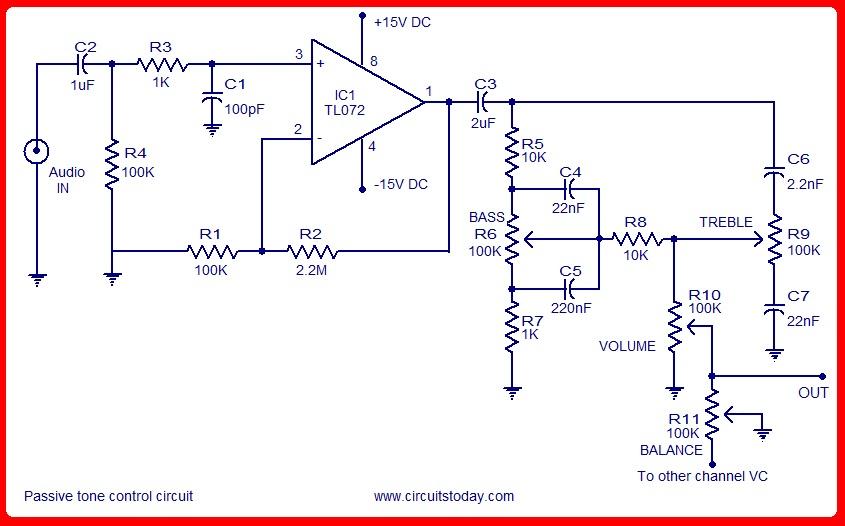 Skema Rangkaian Amplifier  Tone Control Circuit