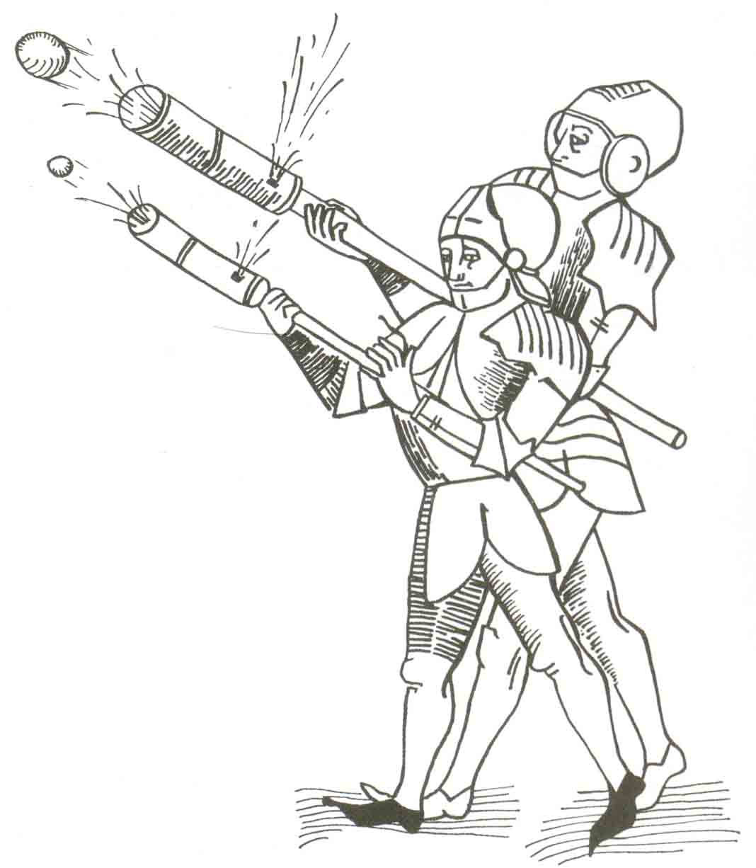 the encyclopedia of weapons early rifles Matchlock Musket Kits this early 15th century illustration depicts the firing of hand cannons in battle the stock is held firmly under the firer s arm and the man in the