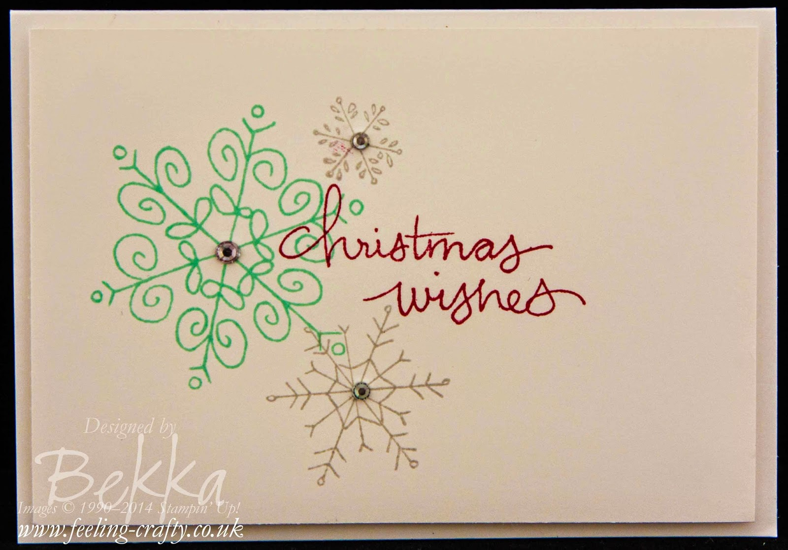 Christmas Card by Stampin' Up! UK Independent Demo Bekka using the Endless Wishes stamp set