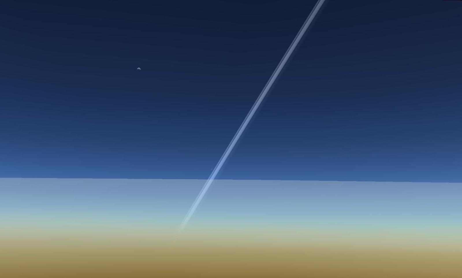 Vành đai của hành tinh Thổ và Mặt Trăng của Trái Đất. Tác giả : John Brady ở Astronomy Central trên mạng xã hội Reddit.
