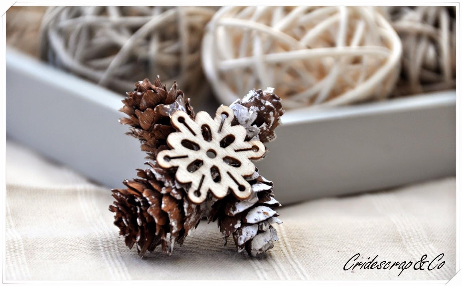 la boutique deco de cridescrap co cing flocons de neige en mini pommes de pin. Black Bedroom Furniture Sets. Home Design Ideas