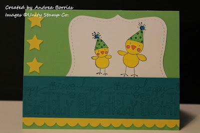 Green birthday card with image of two chicks wearing birthday hats. Bright, boyish colors.