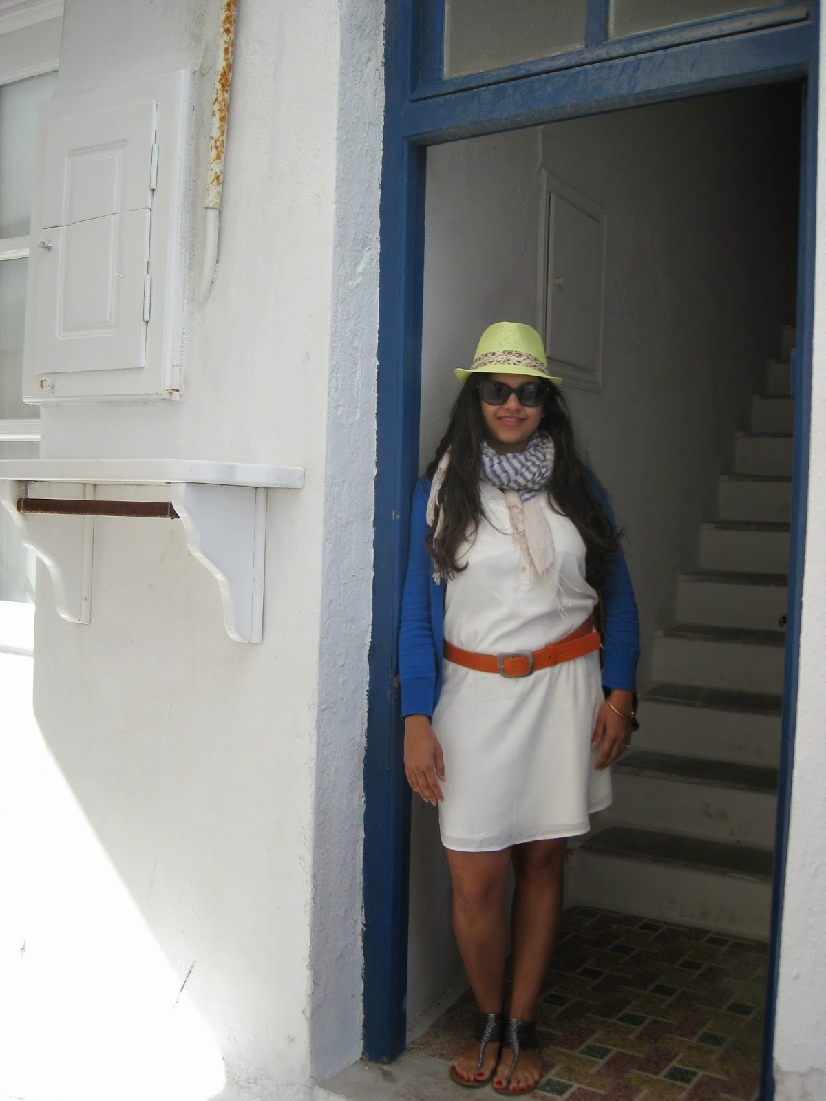 Mykonos - Trisha poses in one of the many doorways