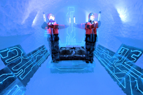 Legacy Of The River, Tron Legacy, tron, legacy, inspired, Ice Hotel Suite, suite, ice hotel, tron theme, blue colour, 3d, high tech, technology, disney, adventure, futuristic, ice hotel, jukkasjarvi, sweden, awesome, cool, architecture, design