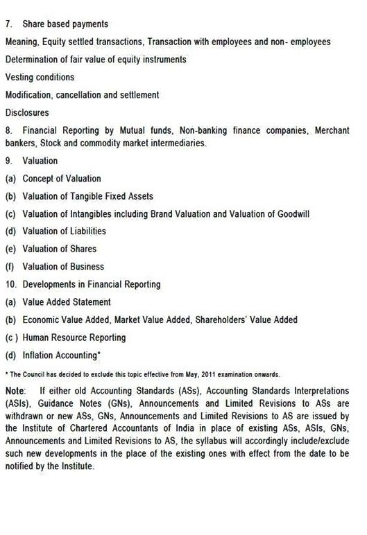 SYLLABUS PAPER 1 CA FINAL FINANCIAL REPORTING