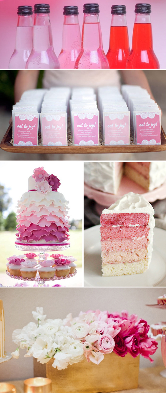 Wedding Reception Inspiration Board Featuring Pink Ombre Ruffles