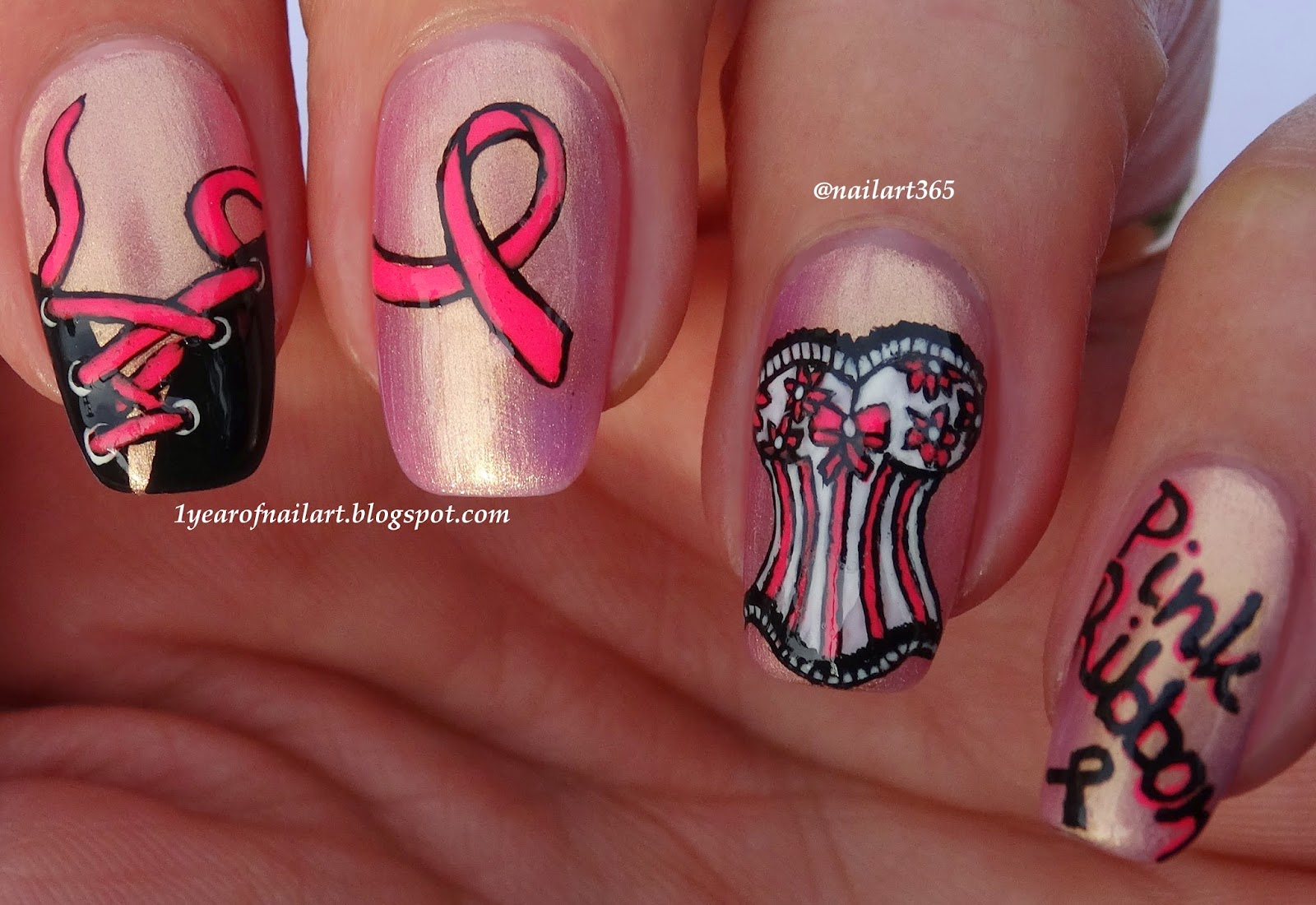 365+ days of nail art: Breast Cancer Awareness nail art