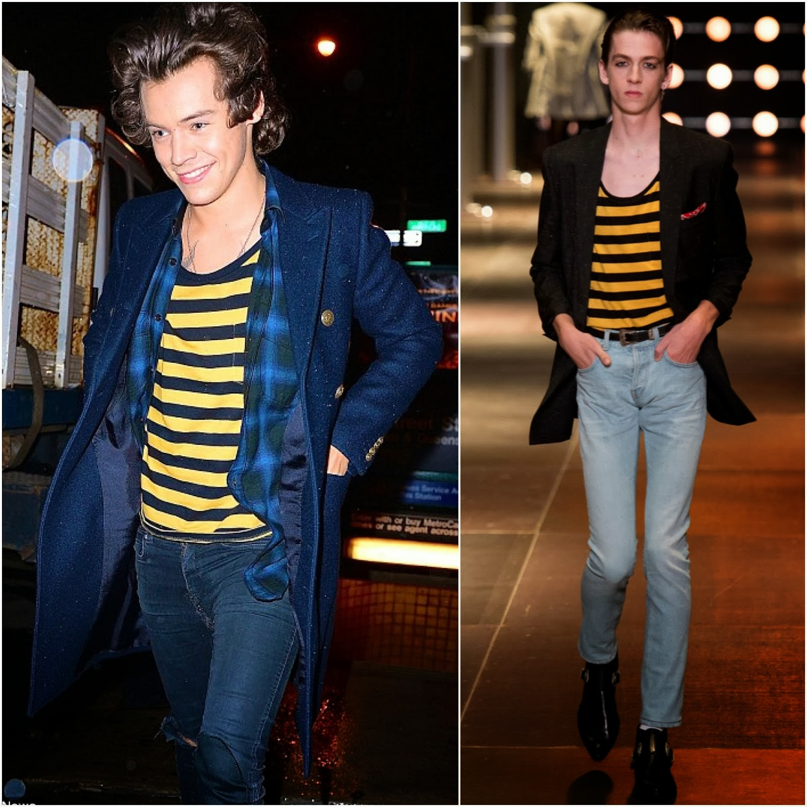 Harry Styles in Saint Laurent striped yellow jersey t-shirt - New York Street Style