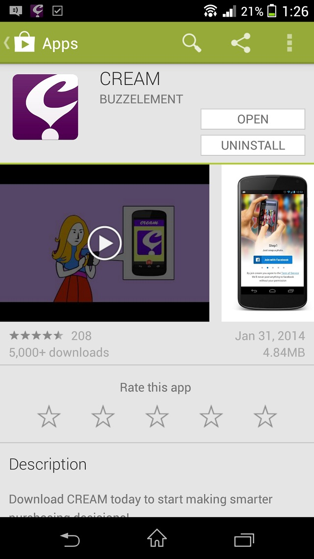 Download the CREAM app from Android's Play Store