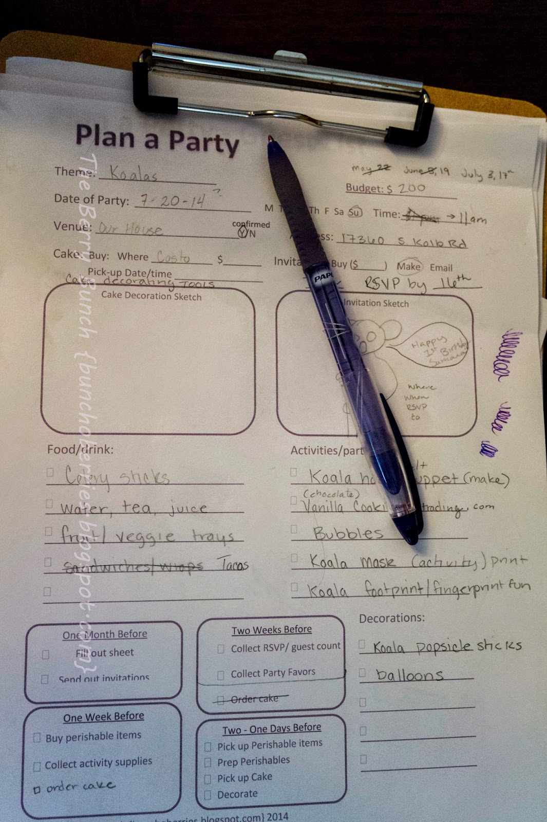 Sizzlin' Summer Series Party Planning Sheets by The Berry Bunch