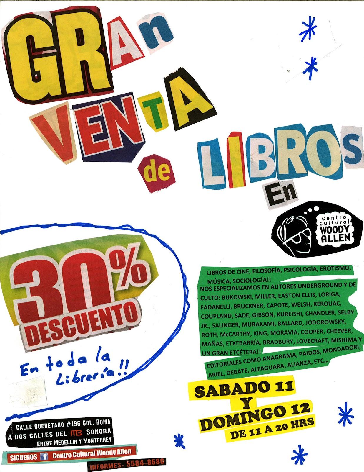 CENTRO CULTURAL WOODY ALLEN: GRAN VENTA DE LIBROS AGOSTO