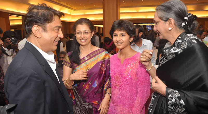 Kamal HaasanGouthami and Daughter At Film France Press Meet Stills glamour images