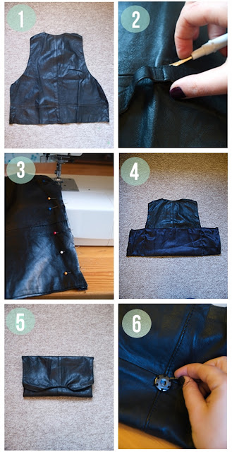 Step by step how to turning a waistcoat into a clutch bag