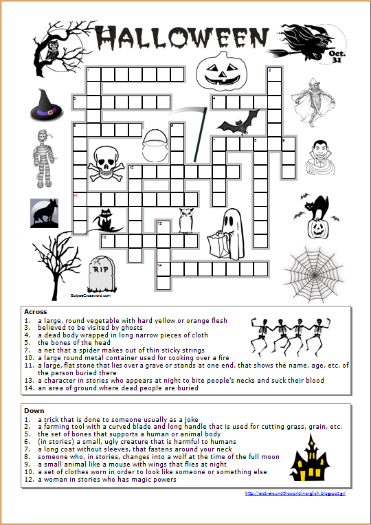 Around the World in English Halloween Crossword worksheet – Halloween Worksheets for Middle School