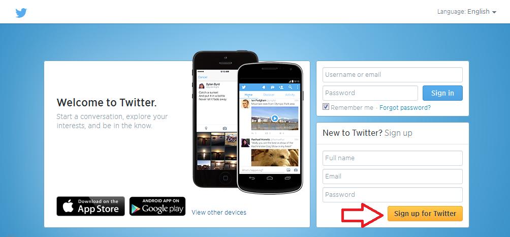 Halaman awal untuk cara membuat Twitter baru