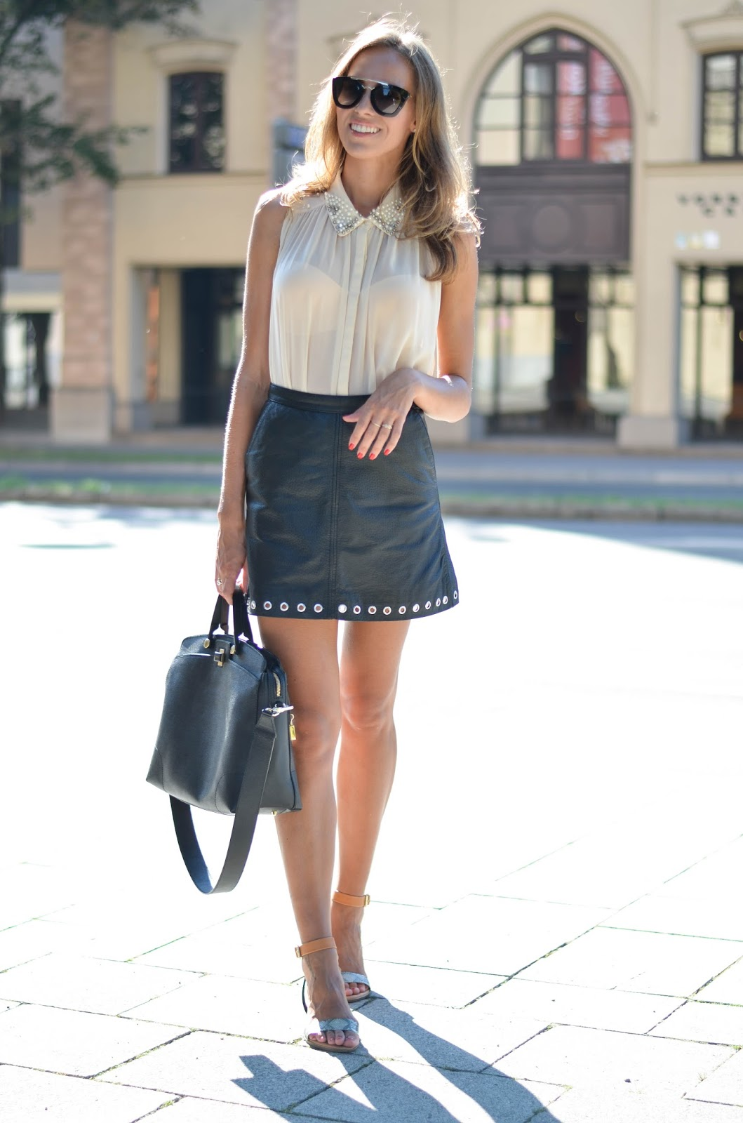kristjaana mere nude sleeveless top leather mini skirt