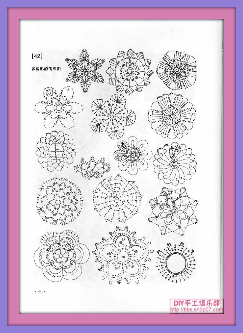 Una locura de ideas: Patrones de flores de ganchillo en tamaño ...