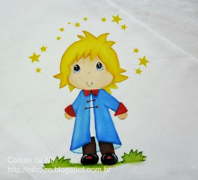 manta de bebe com pintura do pequeno principe