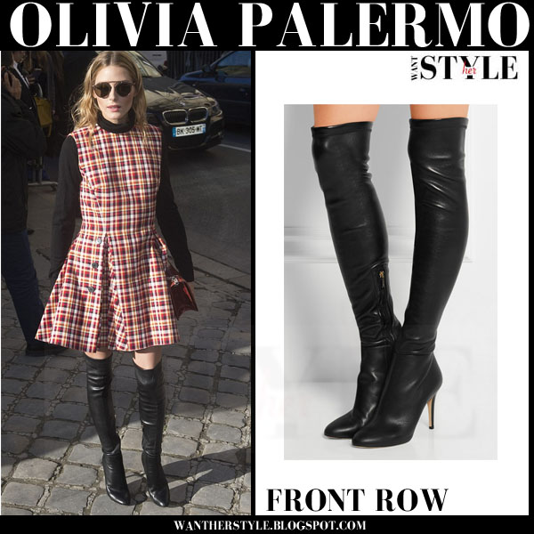 Olivia Palermo in red plaid dress and black thigh boots jimmy choo toni paris haute couture what she wore