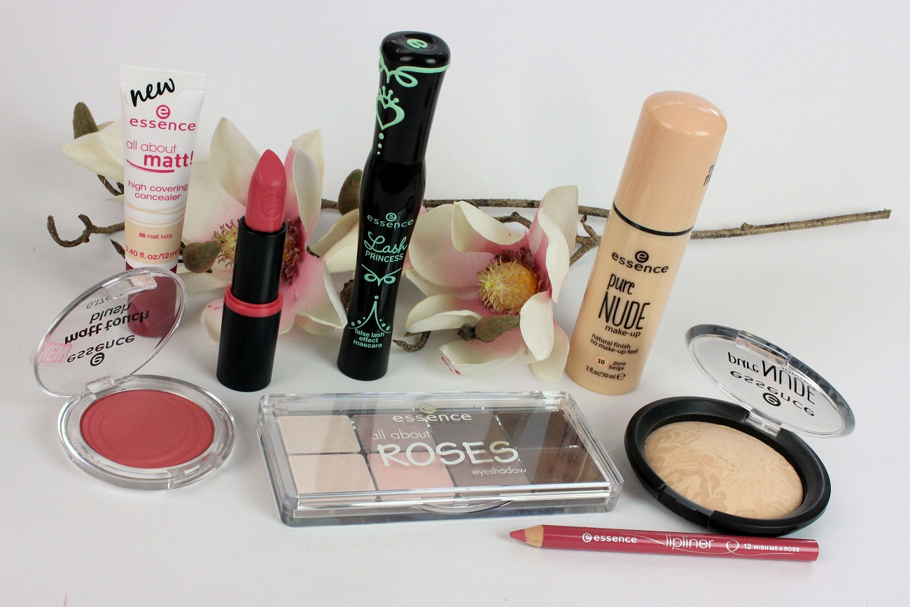 all about roses, concealer, cosmetics, drogerie, essence, foundation, glowcon, helle haut, lipliner, longlasting lipstick, look, make-up, mascara, palette, puder, pure nude, review, swatches, unterschiedliche farbtypen