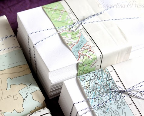gift wrap idea with a map and bakers twine from Concertina Press