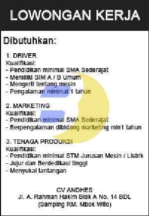 Lowongan Kerja Lampung CV. Andhes