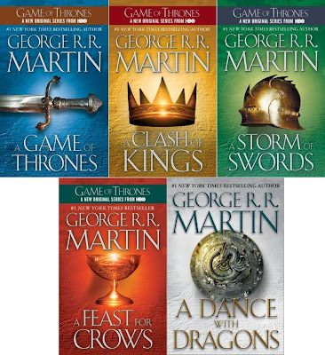 A Song of Ice and Fire US cover art work A Game of Thrones A Clash ok Kings A Storm of Swords A Feast for Crows