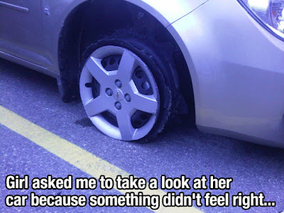Girl with blown tire asked me to take a look at her car because something didn't feel rtight.