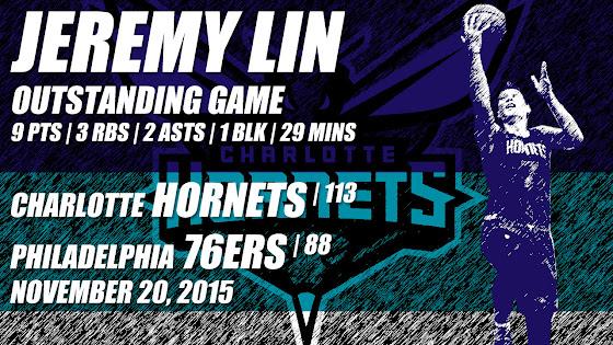 Jeremy Lin, Outstanding Game, Charlotte Hornets Beat Philadelphia 76ers, 113 - 88, 11-20-2015