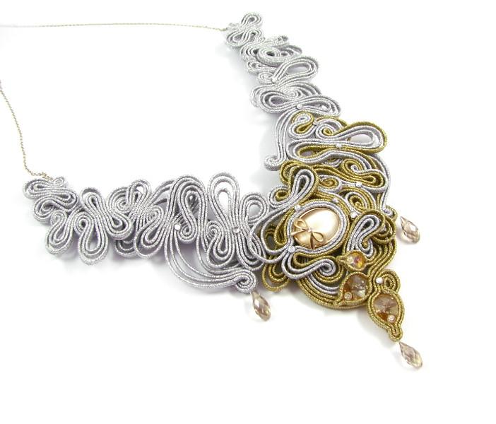 Naszyjnik ślubny sutasz z kryształami Swarovski