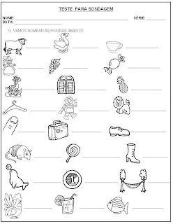 Teste para Sondagem - Leitura e escrita - Atividade para Alfabetização 3