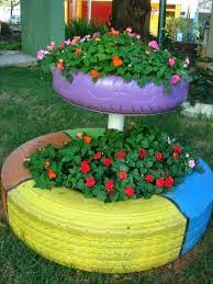 Decoração de jardim com pneus reciclados