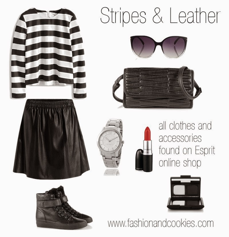 Shop and Save, shopping tips from Esprit website, striped blouse, faux leather circle skirt on sale, Fashion and Cookies, fashion blog
