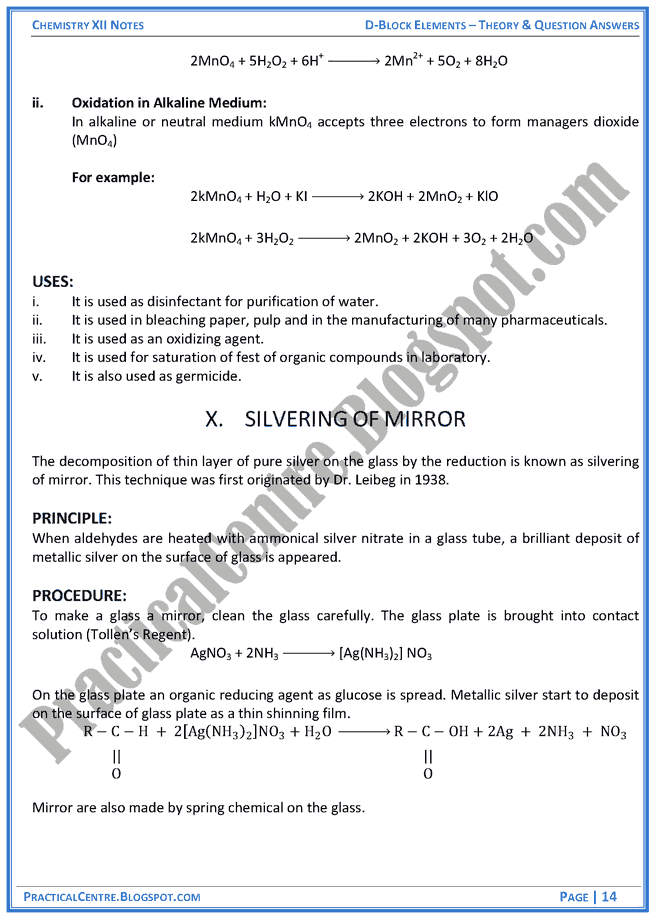 d-block-elements-theory-and-question-answers-chemistry-12th