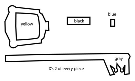 How to make a Kingdom Hearts felt keyblade template Plushie tutorial