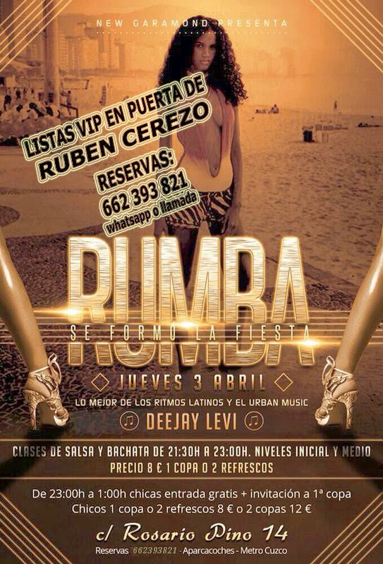 listas NEW GARAMOND JUEVES, 3 DE ABRIL: RUMBA - NEW AFTERWORK