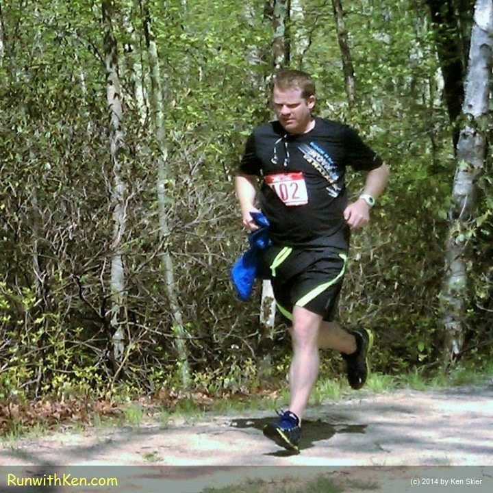 Winning male runner at the 8K XTERRA Trail Race (MA #1) in Douglas, MA.   May 17, 2014