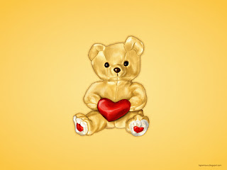 Illustration of a cute teddy hypnotist holding a heart on yellow background 1600x1200 wallpaper
