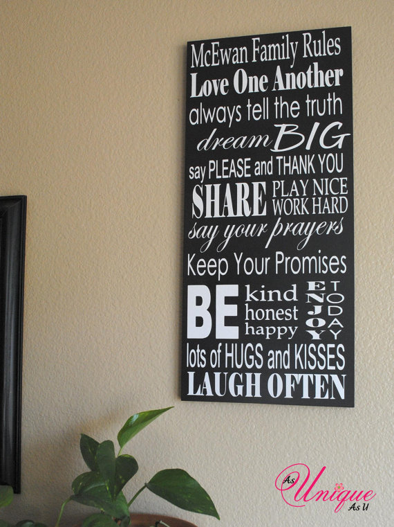 Family Rules Customized Sign $40 value - Smitten By...