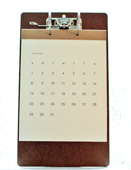 2012 clipboard calendar