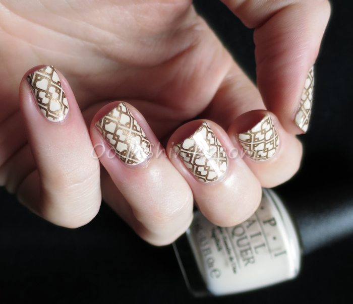 OPI My Vampire Is Buff with Essence Copper Rulez! and DRK XL Designer plate 1