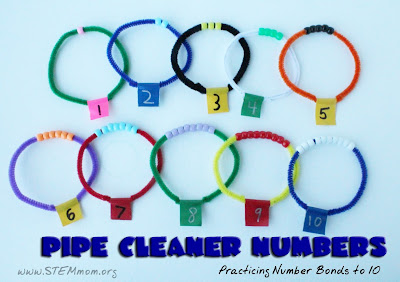 Pipe Cleaner and Beads to practice number bonds to 10  from STEMmom.org