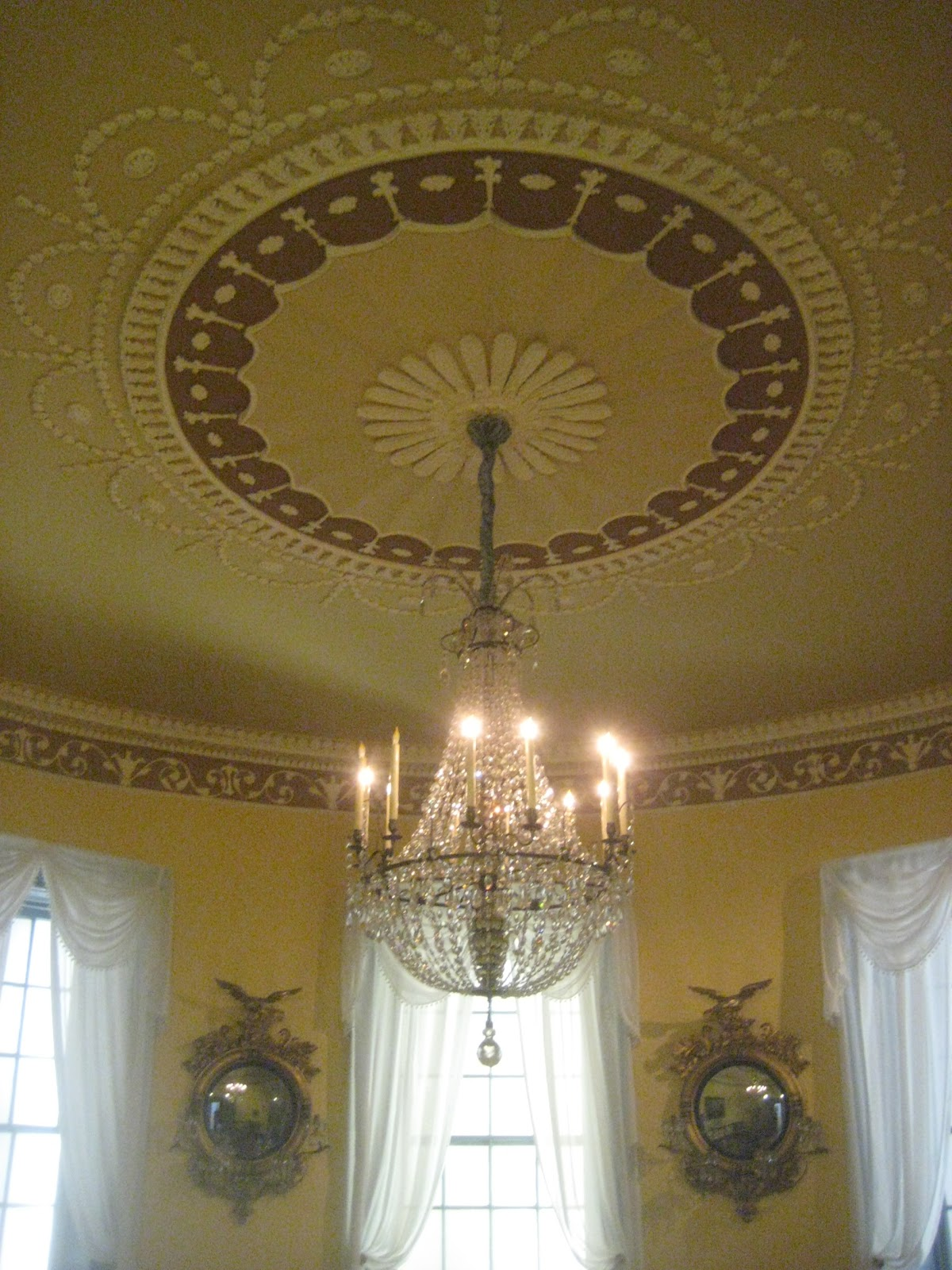 Southern folk artist antiques dealercollector oval federal room the plaster ceiling medallion is in the shape of an oval fluted tent of canopy encircled by applied ornament of palmettes bellflowers swages arubaitofo Image collections