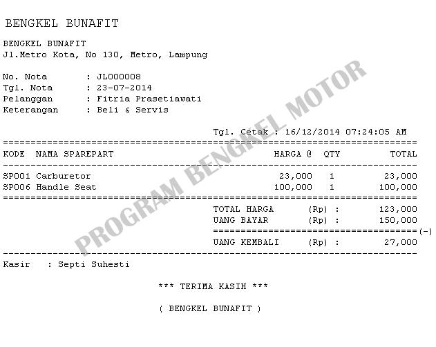 Sistem Informasi Bengkel Motor Dan Penjualan Sparepart