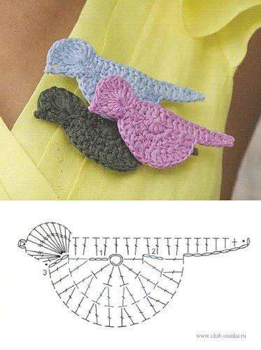 вязаные птицы крючком схемы