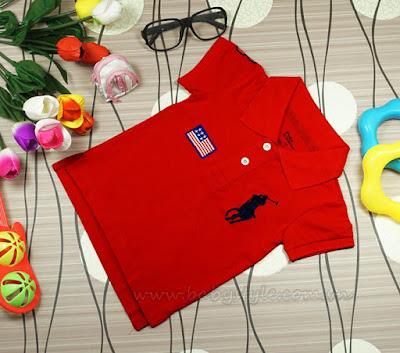 Áo Polo dành cho bé gái cực cute màu Đỏ