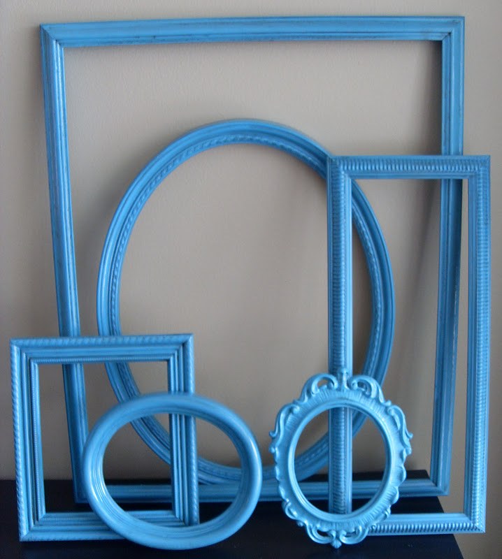Oops wall grouping of vintage frames before and after Teal spray paint for metal