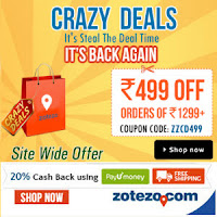 Zotezo Crazy deals Rs. 499 Off on Rs. 1299 & 20% PayUMoney Cashback : buytoearn