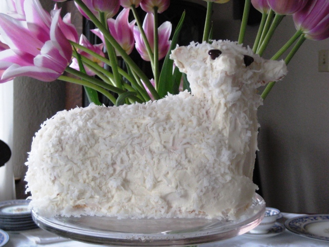 at easter i make lamb cake with the lambchop face and serve it at ...